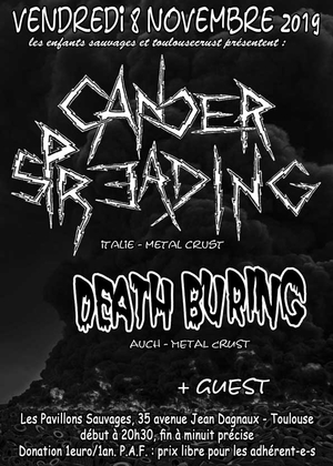 concert metal punk avec CANCER SPREADING + DEATH BURING + Guest